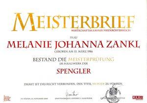 Melanie Zankl - Meisterbrief Spengler